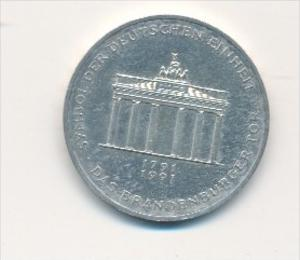 Deutschland  10,-D.-Mark Silber -1991 A  Brandenburger Tor   (x1773 ) siehe scan !