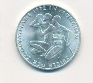 Deutschland  10,-D.-Mark Silber -1972 D  Olympia Sportler     (x1768 ) siehe scan !