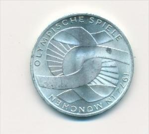 Deutschland  10,-D.-Mark Silber -1972 D  Olympia München  (x1765 ) siehe scan !