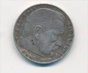 D.-Reich  5,-Mark Silber /Hindenburg 1936 A   (x1778 ) siehe scan !