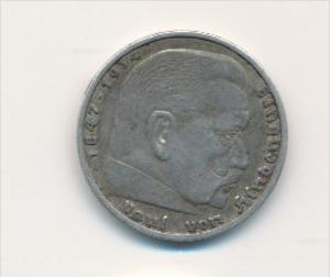 D.-Reich  5,-Mark Silber /HJindenburg 1935  A   (x1780 ) siehe scan !
