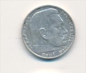 D.-Reich  2,-Mark Silber /HJindenburg 1938 F   (x1787 ) siehe scan !
