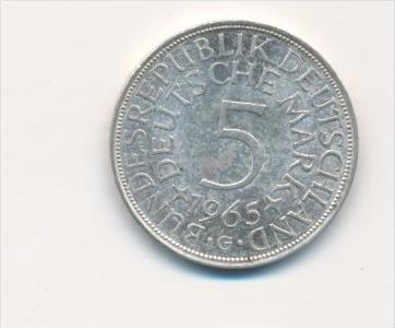 Deutschland 5,-D.-Mark  Silberadler  1965 G (x1798 ) siehe scan !