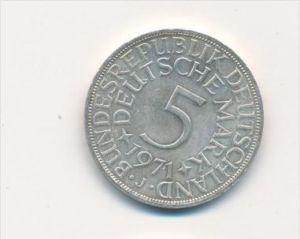 Deutschland 5,-D.-Mark  Silberadler  1971 j (x1797 ) siehe scan !