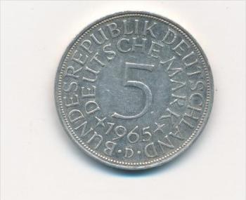 Deutschland 5,-D.-Mark  Silberadler  1965 D   (x1796 ) siehe scan !