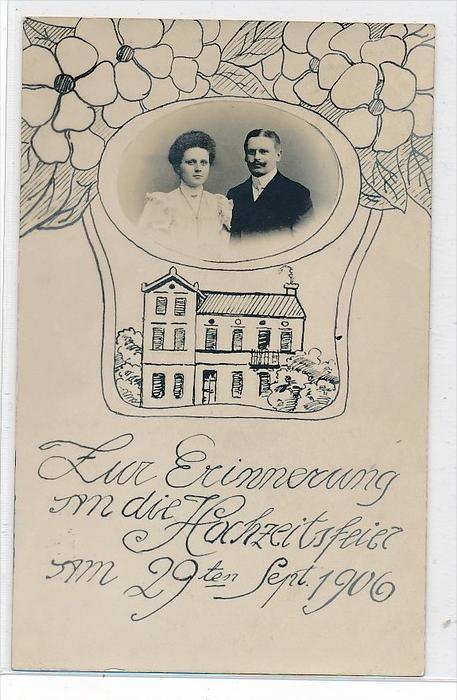 Thema Hochzeit  -Karte über 100 Jahre alt  (da3698 ) siehe scan !!