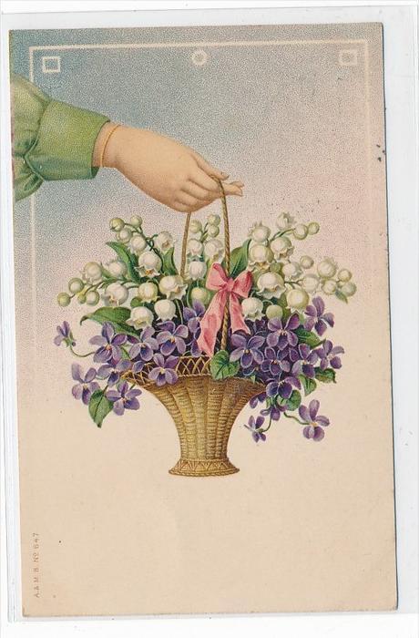 Thema  Glückwunsch-Blumen -Karte über 100 Jahre alt  (da3674 ) siehe scan !!