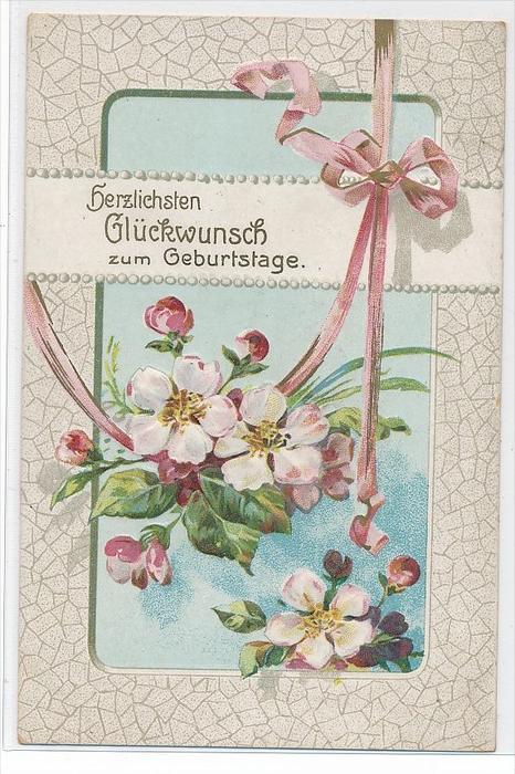 Thema  Glückwunsch-Blumen  Präge-Karte über 100 Jahre alt  (da3675 ) siehe scan !!
