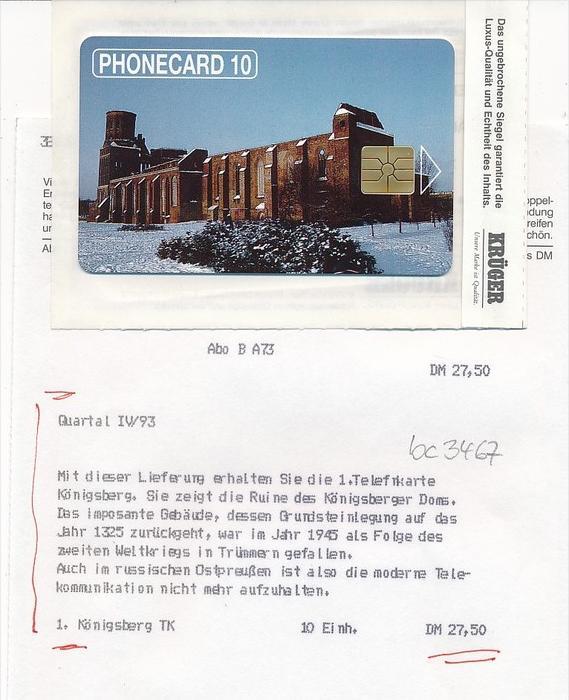 Telefonkarte Russland Königsberg orginal verpackt  (bc 3467 ) siehe scan- aus Neuheiten ABO