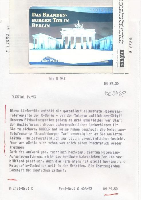 Telefonkarte  Deutschland-Hologramm orginal verpackt  (bc 3468 ) siehe scan- aus Neuheiten ABO
