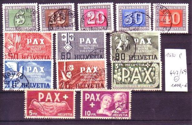 Schweiz Nr. 447-59 o Pax Serie -orginal -top  (p1530 ) siehe scan  !