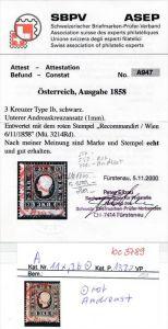 Österreich Nr. 11x,Ib  mit sichtbar Andreas Kreuz -Attest (bc 3789 ) siehe scan !