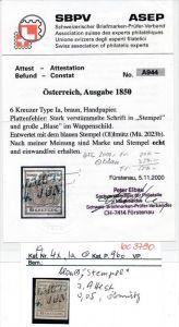 Österreich Nr. 4xIa blauer Stempel  -Attest (bc 3790 ) siehe scan !