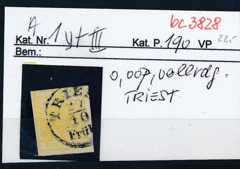 Österreich  Nr .1y   .....bitte die Beschreibung auf der schweizer Händler Loskarte beachten !! (bc 3828 )