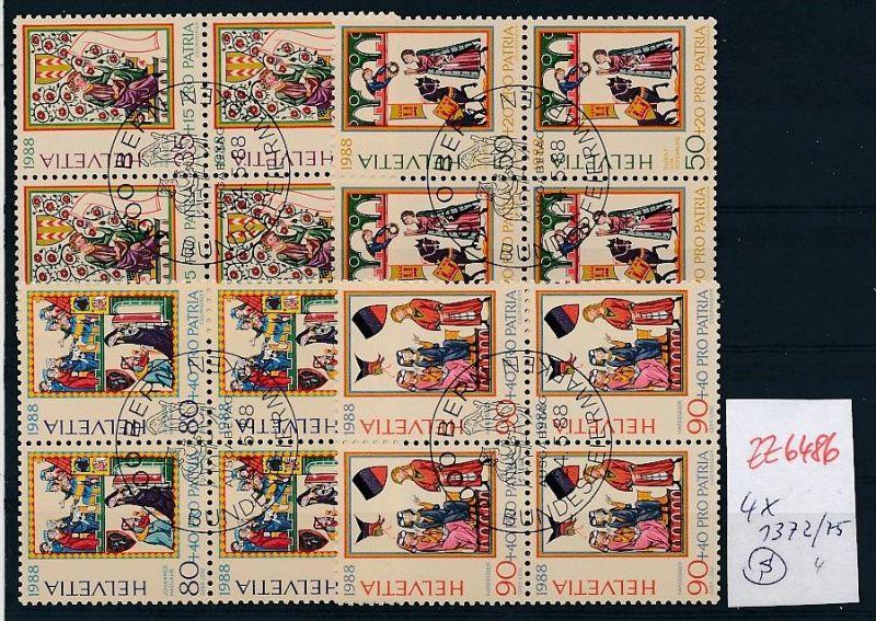 Schweiz  Nr. 4er Block 1372-75  o  (zz6486 ) siehe scan  !!