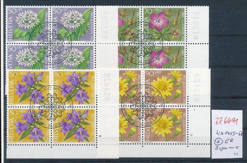 Schweiz  Nr. 4er Block 1455-58 Nummer   /ER.  o  (zz6491 ) siehe scan  !!