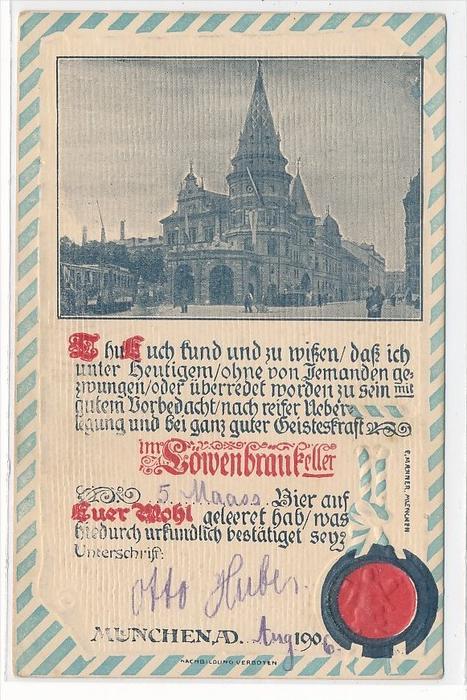 München Löwenbräu -alte Karte  (da4321 ) siehe scan !