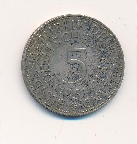 BRD  5,-D.-Mark  Adler 1951 G -Silber( x1869 ) siehe scan !