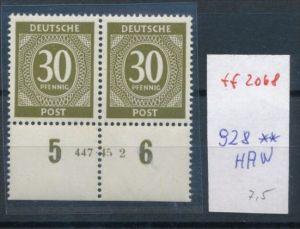 Zonen Nr. 928  ** Paar -HAN (ff2068 ) siehe scan +Beschreibung !!