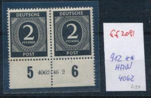 Zonen Nr. 912   ** Paar -HAN (ff2091 ) siehe scan +Beschreibung !!