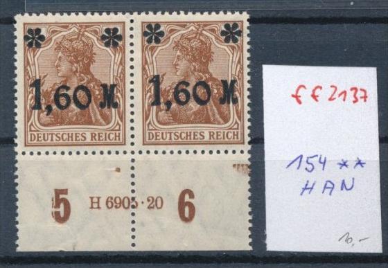 D.-Reich  Nr.154   **  -HAN (ff2137  ) siehe scan +Beschreibung !!