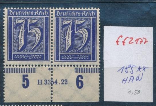 D.-Reich Nr. 185  **  HAN-Paar      ( ff2177 )  siehe scan !