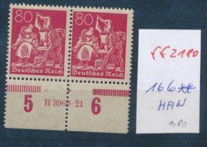 D.-Reich Nr. 166   **  HAN-Paar      ( ff2180   )  siehe scan !