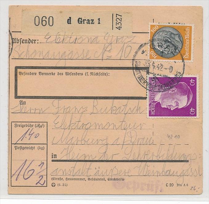 DR  Paketkarte  o-Graz Österreich   (bc 6874 ) siehe scan !