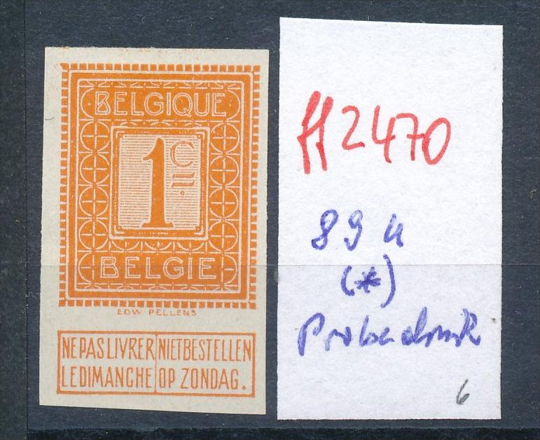 Belgien Nr. 89 U (*) Probedruck  (ff2470   ) siehe Bild !