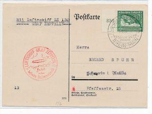 D.-reich Zeppelin Karte  Sudetenland    (bc 7379  ) siehe scan !