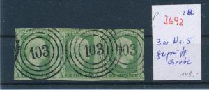 Preussen  super 3er Streifen Nr. 5  o  geprüft Grobe   (p3692 ) siehe scan !