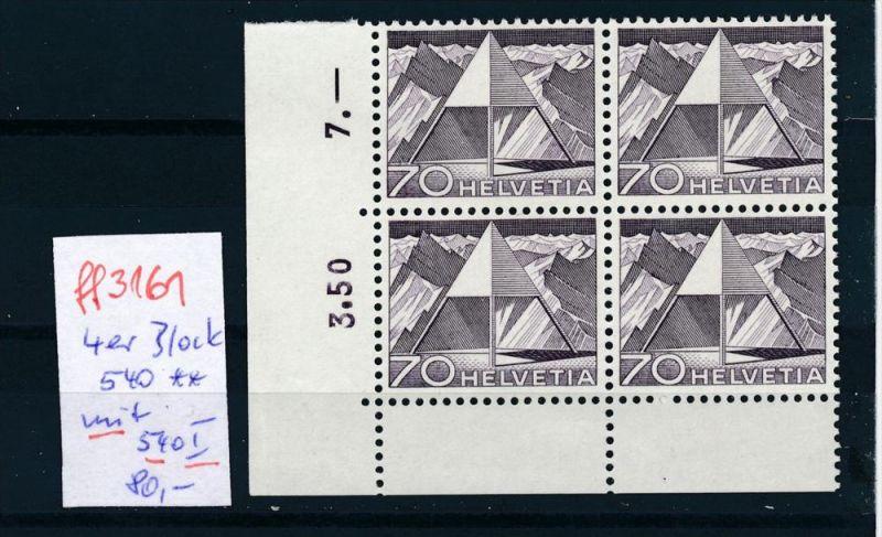 Schweiz -Abart Nr.   4er Bl. mit  540 I  **    (ff3161 ) siehe scan !