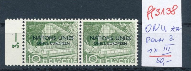 Schweiz -Abart Nr. ONU  Paar mit  2 III   **   (ff3138 ) siehe scan !
