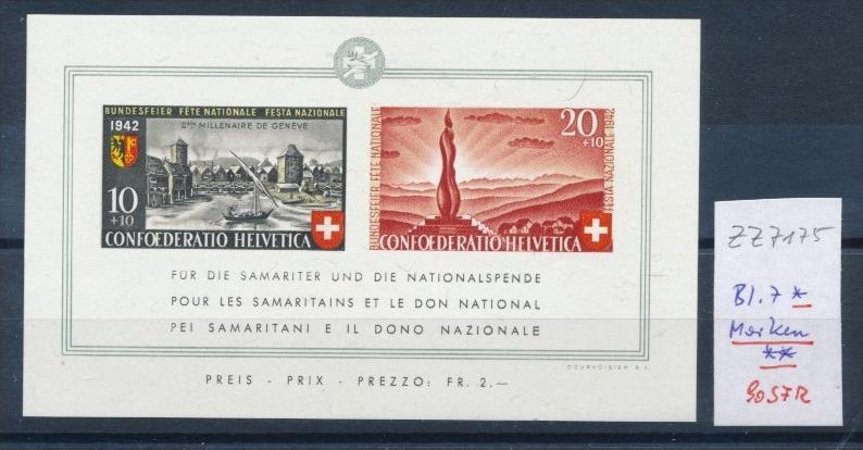 Schweiz Nr.  Block  7 * /Marken **     (zz7175 ) siehe scan  !