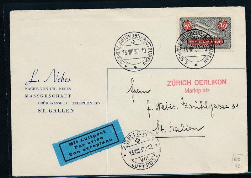 Schweiz  Flugpost Beleg 1937   (zz7390 ) siehe scan !