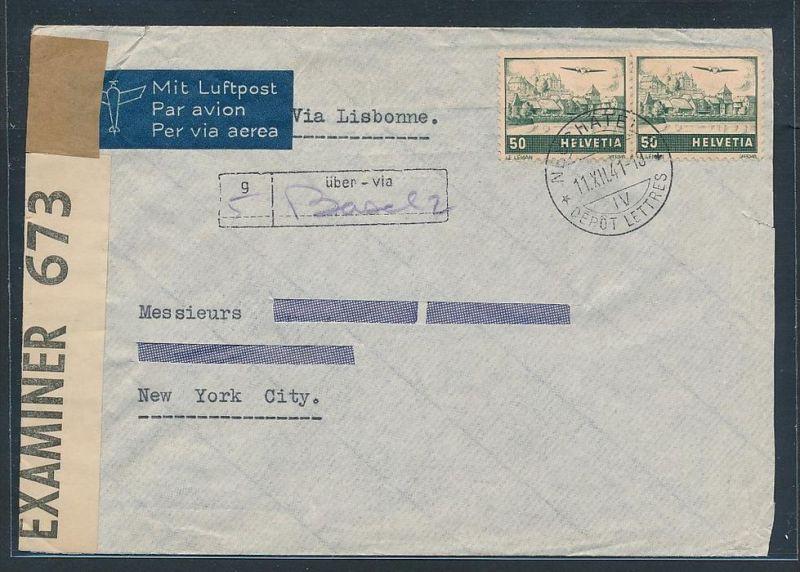 Schweiz  Flugpost Beleg 1941 zensur    (zz7382 ) siehe scan !