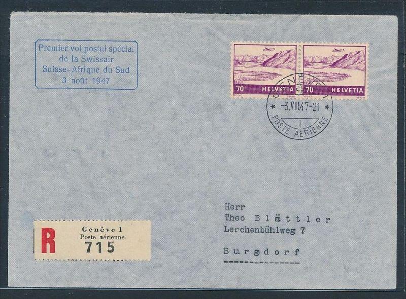 Schweiz  Flugpost Beleg 1947   nach Süd-Afrika (zz7380 ) siehe scan !