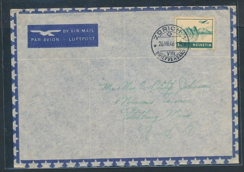 Schweiz  Flugpost Beleg 1946  nach  USA  (zz7378 ) siehe scan !