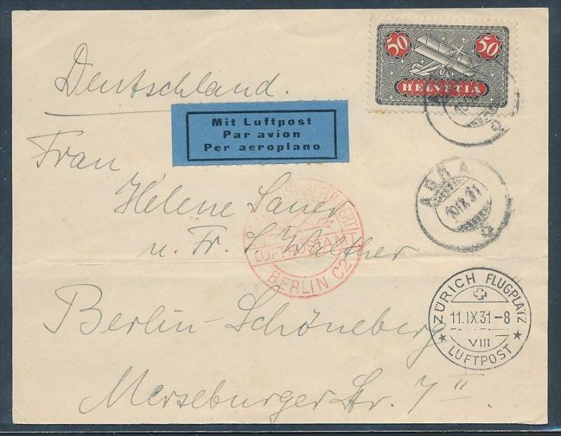 Schweiz  Flugpost Beleg  1931-Briefvorderseite !  (zz7388 ) siehe scan !