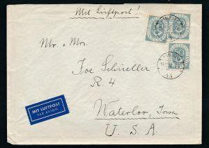 Bund Posthorn MEF  134 nach USA  - BEDARF    (zz7306 ) siehe scan !