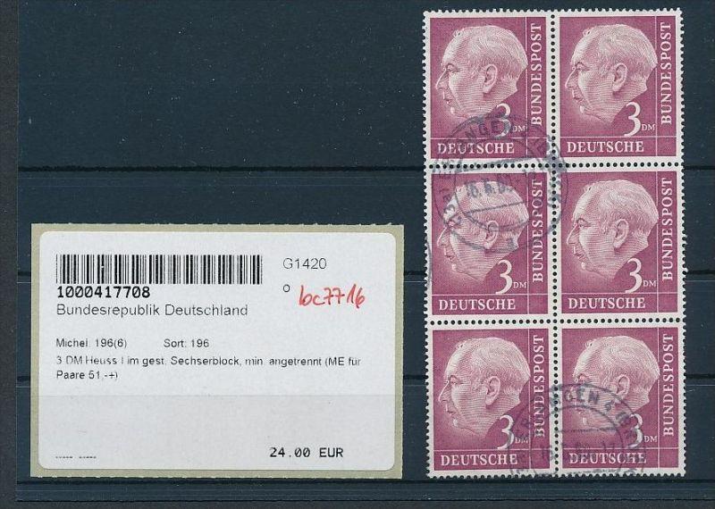 BRD  6er Block  196   o    (bc7716  ) siehe scan  !