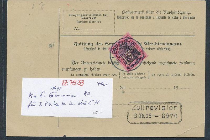 Germania 3x 80 Pf Auf Paketkarte In Die Schweiz Für 3 Pakete Zz7533