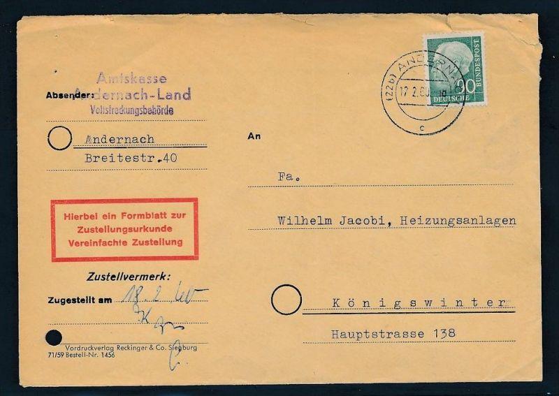 BRD Zustellurkunde Heuss 90 Pf. EF  (zz7592 ) siehe scan !