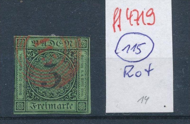 Baden  Stempel 115 rot   (ff4719  )  siehe vergrößerten scan  !