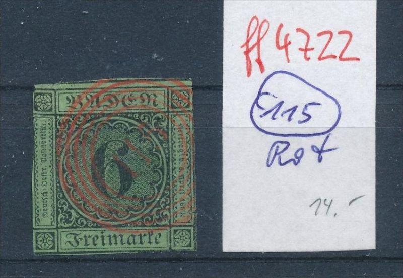 Baden  Stempel 115 rot   (ff4722   )  siehe vergrößerten scan  !