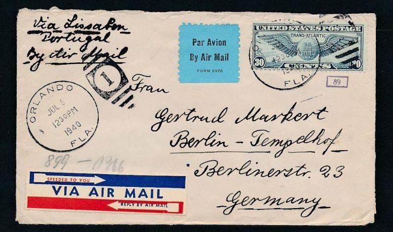 USA Zensur  alter Luftpost Beleg        (zz7931 ) siehe scan !