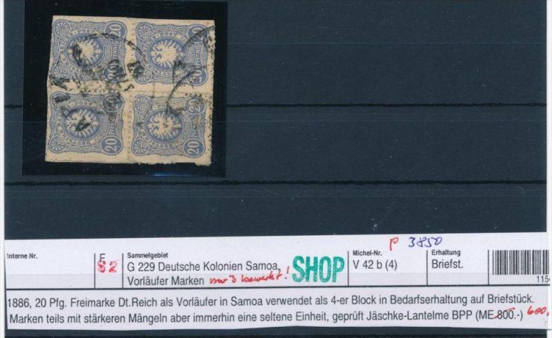 Samoa Vorläufer  V42b  o /nur 3 bewertet     geprüft Jäschke-Lant. BPP  (p3850 ) siehe scan !