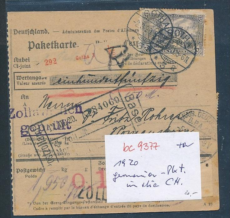 Germania Paketkarte In Die Schweiz Bc 9377 Siehe Scan Nr
