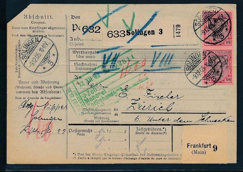 Germania-Paketkarte in die Schweiz mit MEF  77  ( bc9408  )  siehe scan  !
