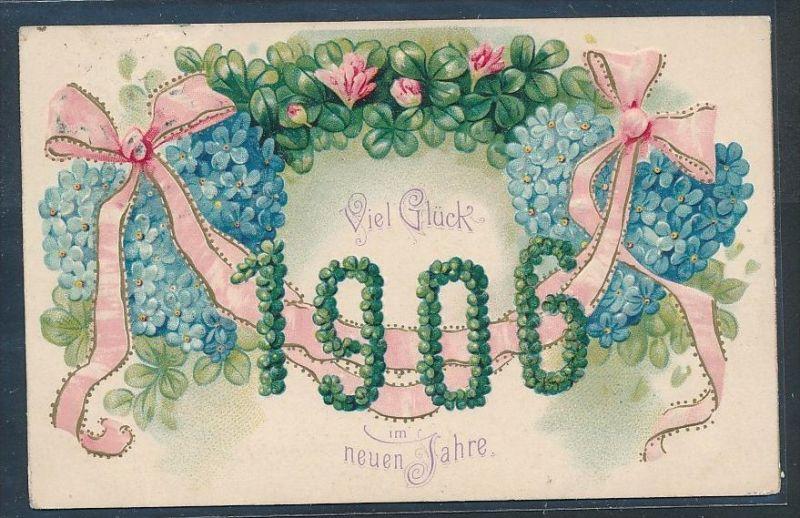Neu Jahr 1906 Präge  alte Karte-gebraucht  (bc9416  ) siehe scan  !